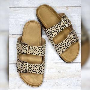 NWT Cindy Cheetah Buckle Sandal